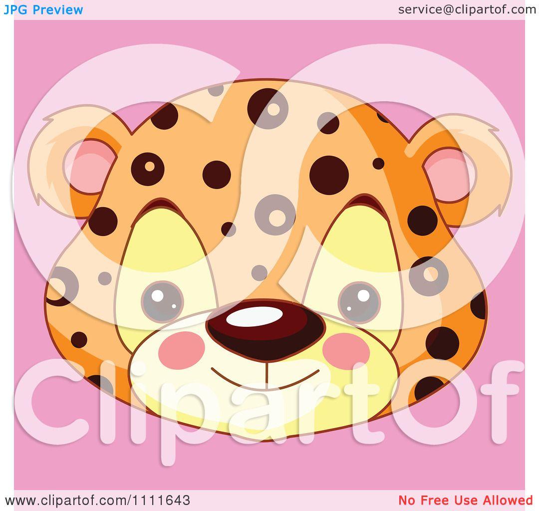 Clipart Cute Jaguar Avatar Face On Pink.