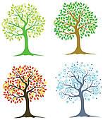 Clip Art of Many different cartoon trees k9112917.
