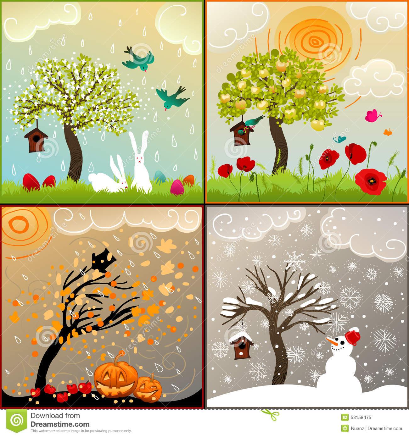 Jahreszeiten Clipart.