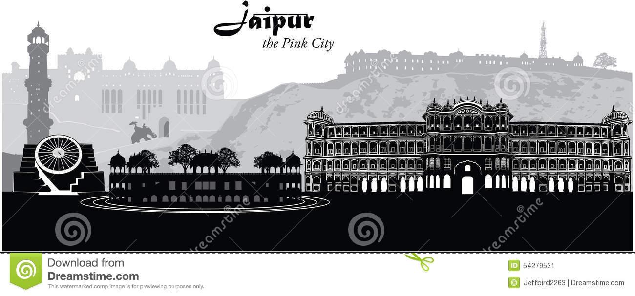 Jaipur Cityscape Stock Vector.