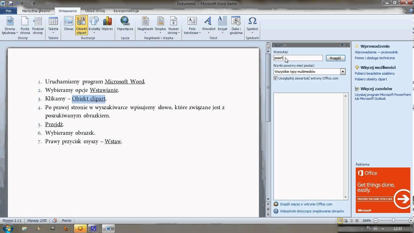 Jak wstawić clipart w programie Microsoft Word..
