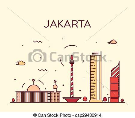 Vector Clip Art of Jakarta skyline trendy vector illustration.