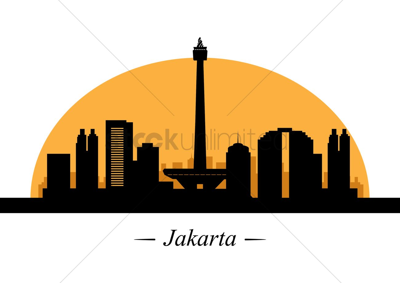 Silhouette of jakarta Vector Image.