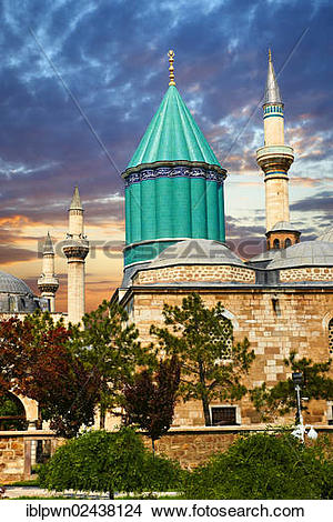 """Stock Photo of """"Mevlana museum, with the blue domed mausoleum of."""