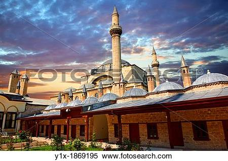 Stock Image of The outer wall will small domed Dervish lodges of.