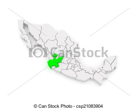 Stock Illustration of Map of Jalisco. Mexico. 3d csp21083904.