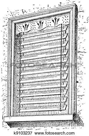Clip Art of Jalousie window, vintage engraving. k9103237.