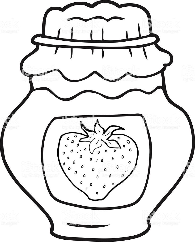 Black And White Cartoon Jar Of Strawberry Jam Stock Illustration.