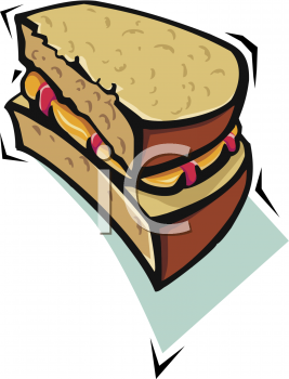 Half of a Peanut Butter and Jelly Sandwich Clipart.