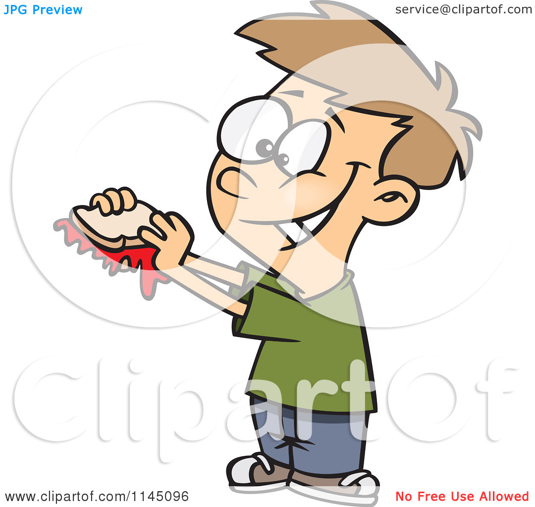 Cartoon of a Happy Boy with a Messy Jam Sandwich.