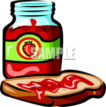 Clipart Picture of a Piece of Bread With Strawberry Jam.