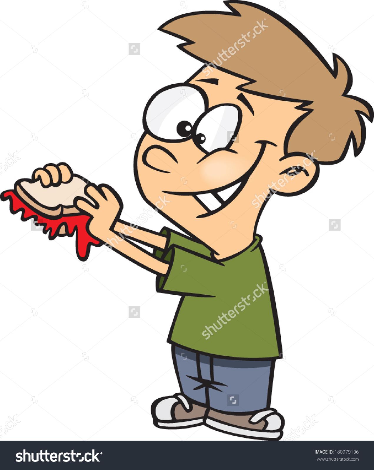 Cartoon Boy About Eat Jam Sandwich Stock Vector 180979106.