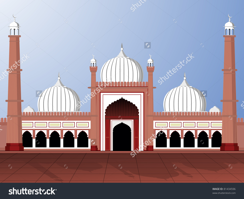 Vector Illustartion Jama Masjid Stock Vector 81434596.