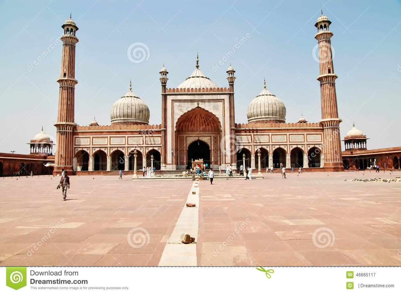Jama Masjid Front Elevation, New Delhi Editorial Stock Image.