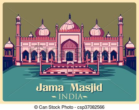 Clip Art Vector of Vintage poster of Jama Masjid in Delhi famous.