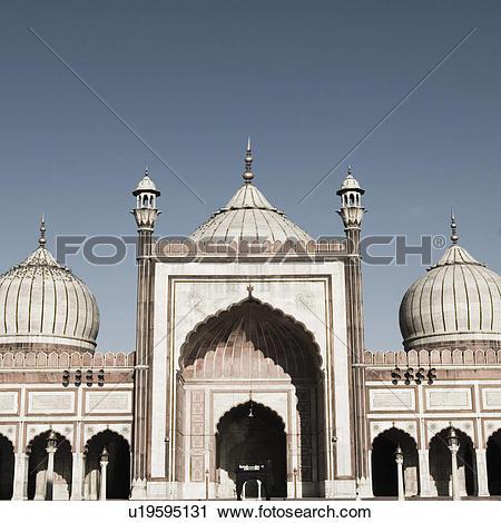 Stock Photography of Facade of a mosque, Jama Masjid, New Delhi.