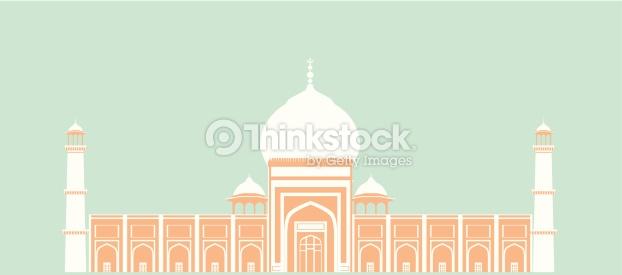 Facade Of A Mosque Jama Masjid Delhi India Vector Art.
