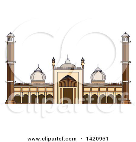 Clipart of a India Landmark, Islamic Mosque Jama Masjid.