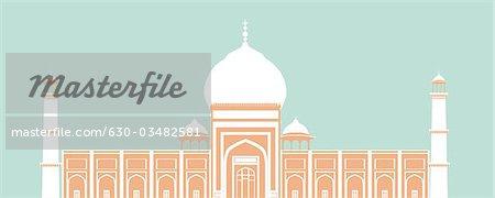 Facade of a mosque, Jama Masjid, Delhi, India.