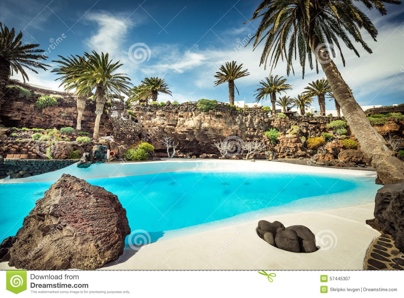 Jameos Del Agua Pool, Lanzarote Stock Photo.