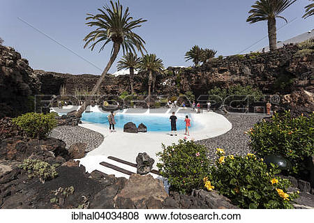 "Pictures of ""Jameos del Agua, garden with pool, designed by Cesar."