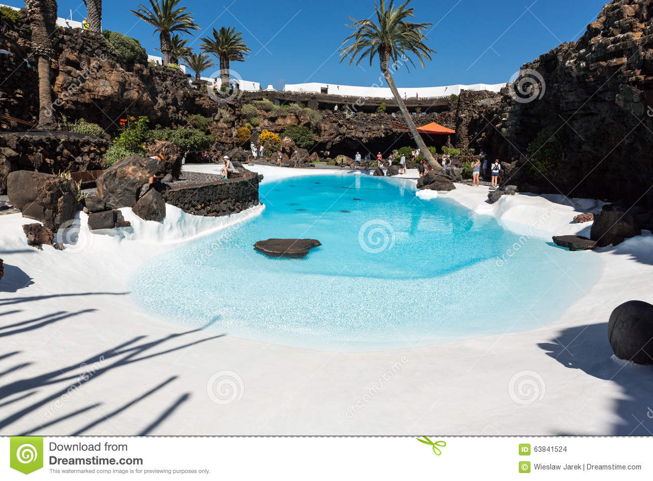 Swimming Pool In The Jameos Del Agua. Lanzarote. Editorial Stock.