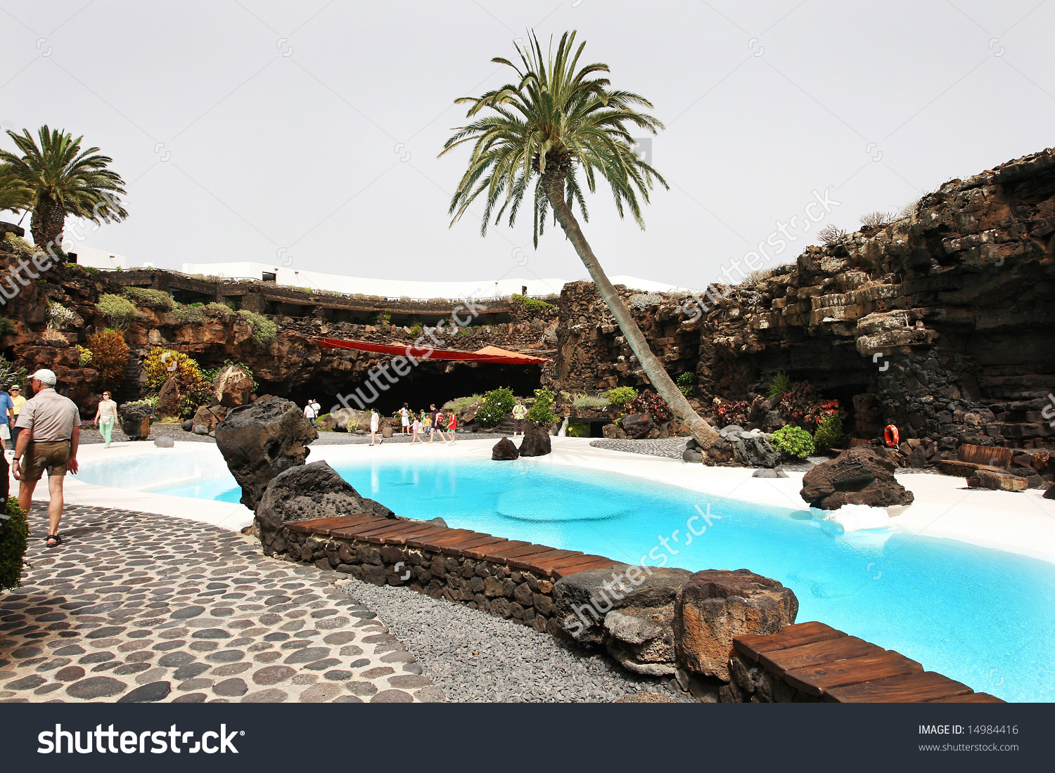 Swimming Pool In The Jameos Del Agua. Lanzarote.Spain. Stock Photo.