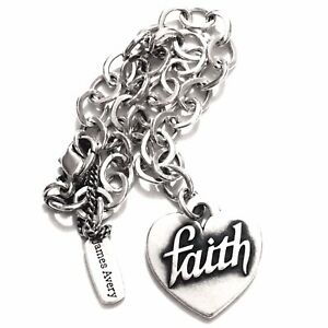 Details about James Avery Sterling Silver Heart of Faith Forged Link Charm  Bracelet 8.