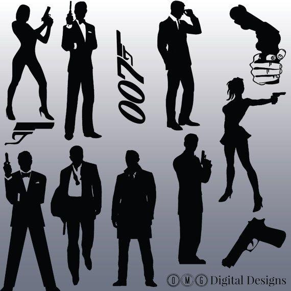 12 James Bond Silhouette Images, Digital Clipart Images.