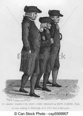 Picture of John Wesley walking in Edinburgh between James Hamilton.