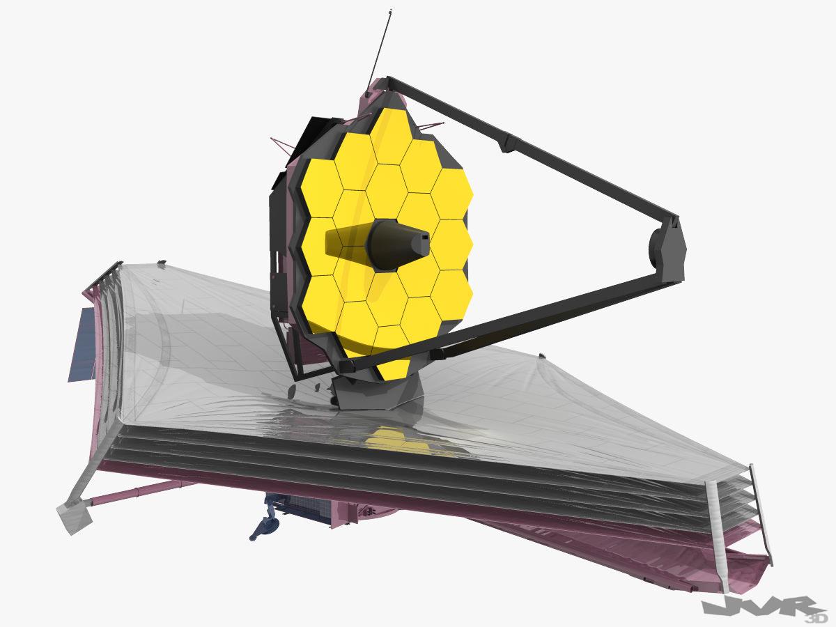 James Webb Spacial Telescope 3D Model MAX OBJ 3DS FBX MTL PDF.