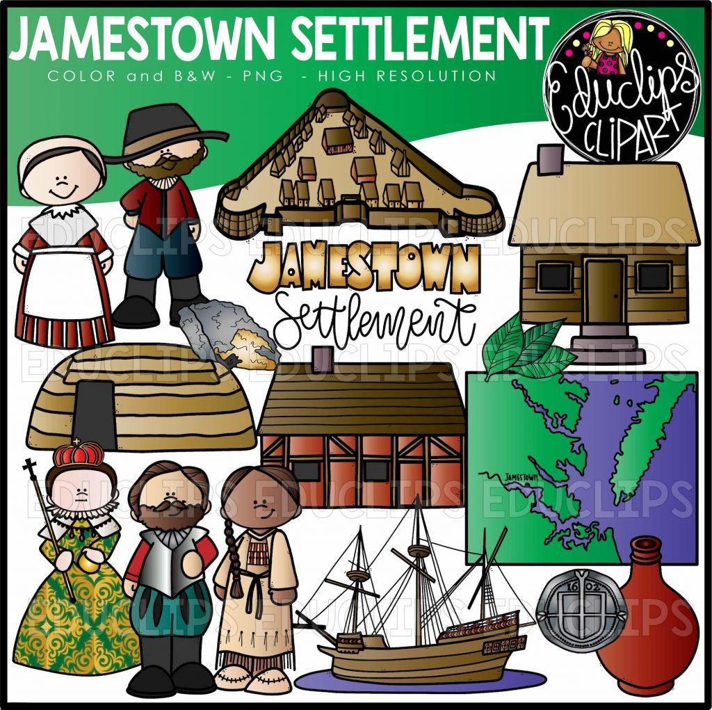Jamestown Settlement Clip Art Set.