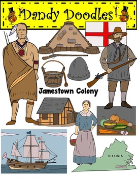 Jamestown Colony Clip Art by Dandy Doodles.