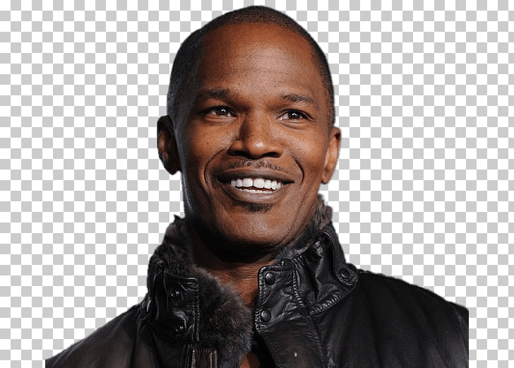 Jamie Foxx Portrait, smiling man wearing black jacket PNG.