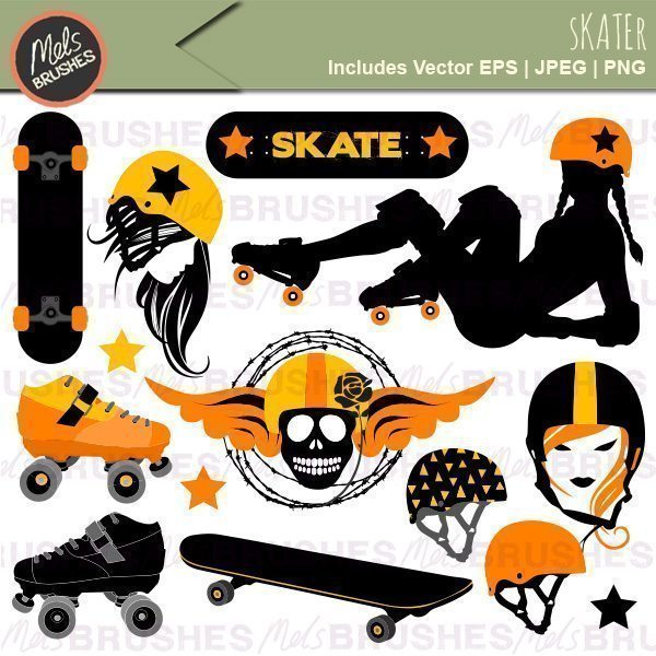Roller Derby & Skateboard Graphics & Patterns Bundle.
