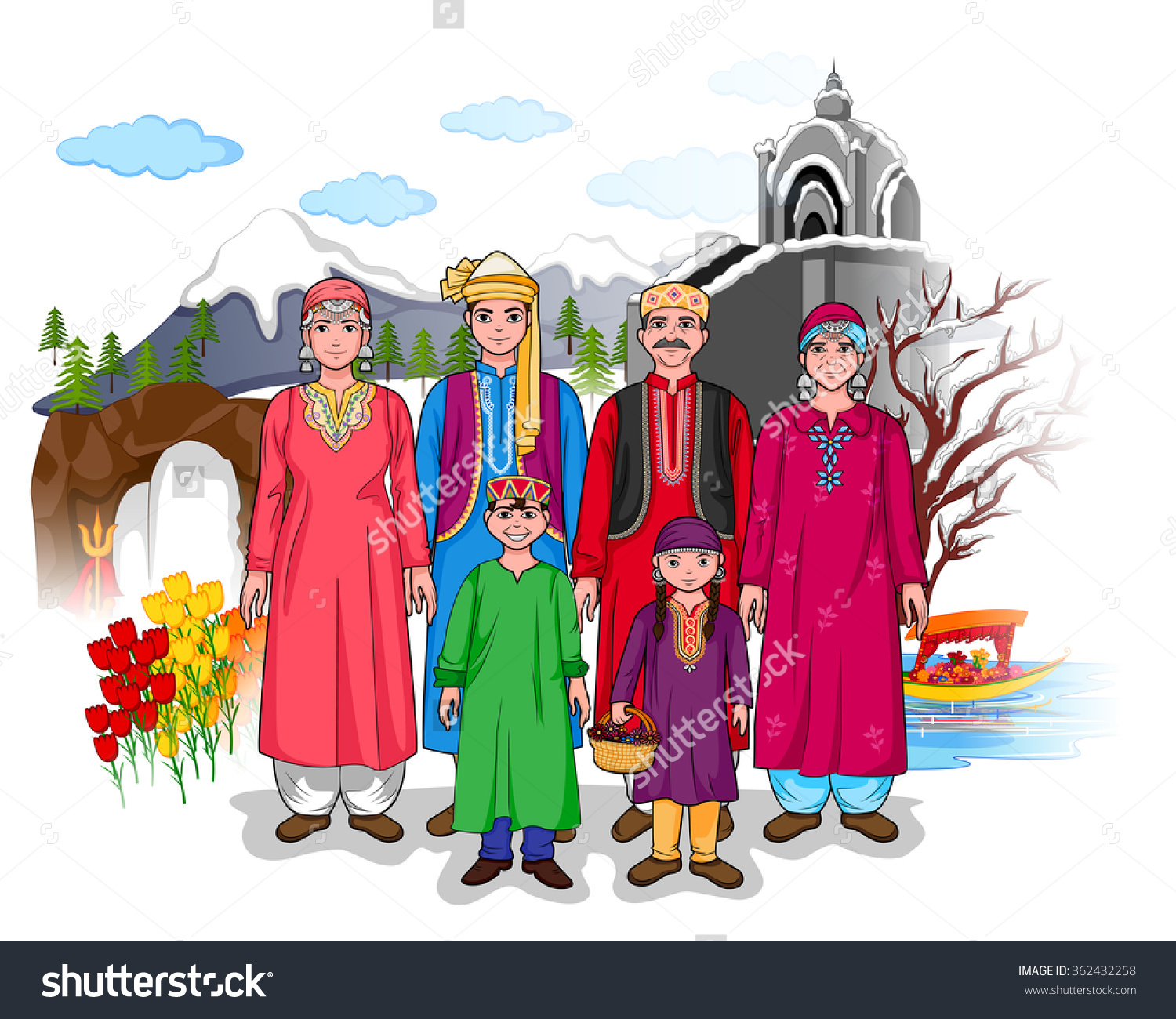 Vector Design Kashmiri Family Showing Culture Stock Vector.