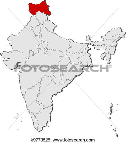 Clipart of Map of India, Jammu and Kashmir highlighted k9773525.