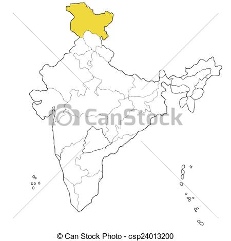 Vector Clipart of Jammu and Kashmir.