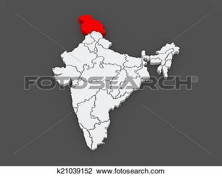 Clip Art of Map of Jammu and Kashmir. India. k21039152.