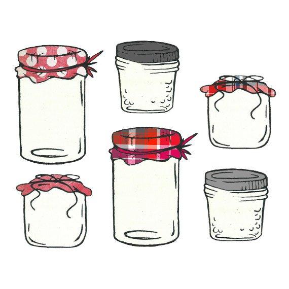Homemade Jam and Jelly Jar Clipart // Mason Jar Clipart in.