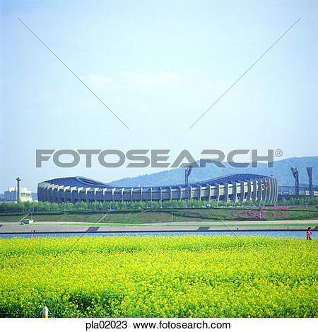 Stock Photo of stadium, flower, spring, Seoul, Olympics, Jamsil.