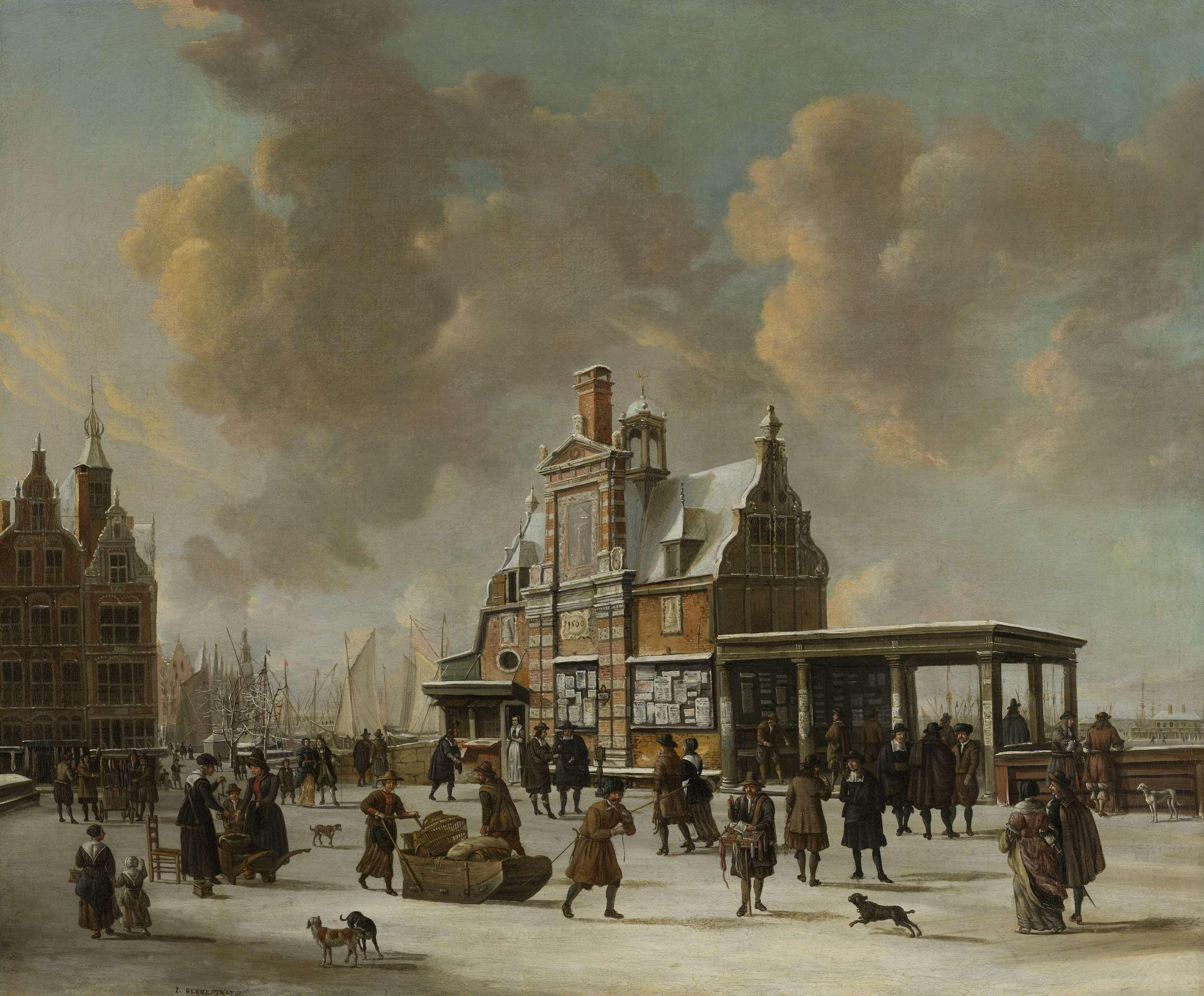 Het Paalhuis en de Nieuwe Brug te Amsterdam in de winter., Jan.