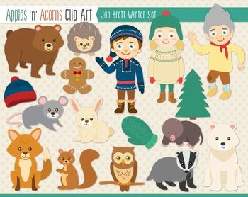 Jan Brett Inspired Winter Clip Art.