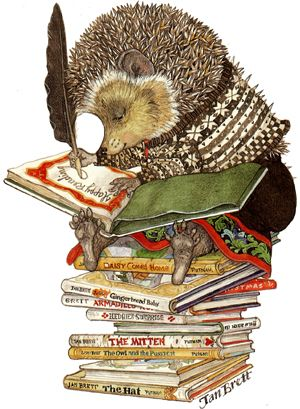 Jan Brett illustration of a hedgie! I love her books oh so much.