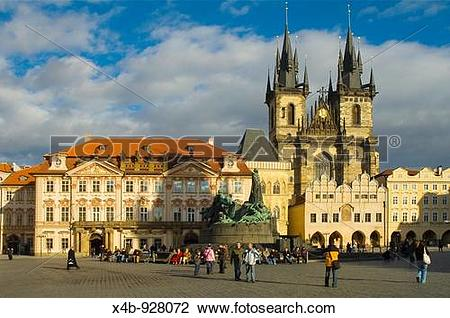 Stock Photo of Old Town Square with Kinsky Palace, Jan Hus.