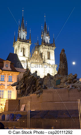 Stock Photographs of Tyn Church and statue monument of Jan Hus at.