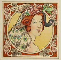 Vector Art Nouveau: Psyche Louis couperus book cover by Jan Toorop.