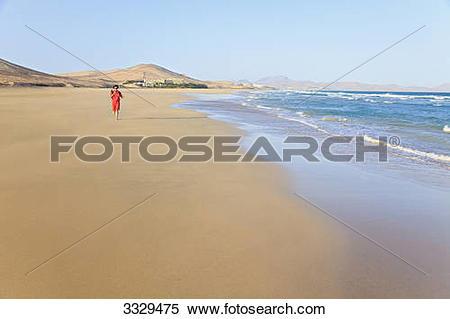 Stock Image of Woman at Playa Barca, Costa Calma, Jandia.