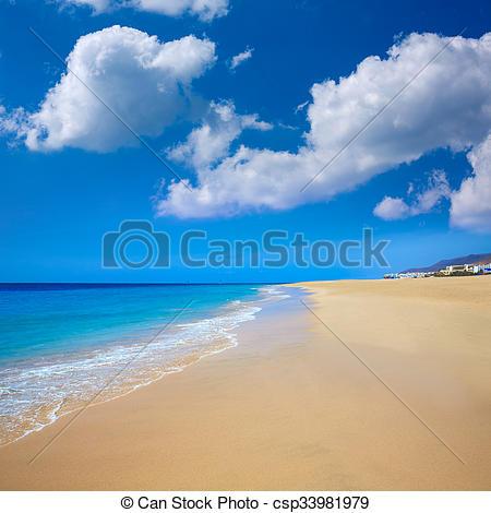 Picture of Morro Jable Matorral beach Jandia in Fuerteventura.