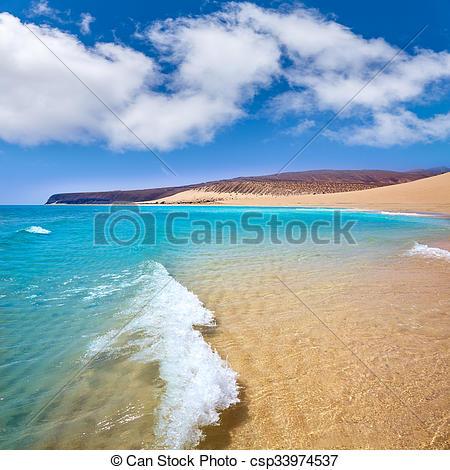 Stock Photos of Jandia beach Risco el Paso Fuerteventura at Canary.